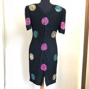 Vintage Dresses - '80s Vintage Beaded Silk & Sequins Polka Dot Dress